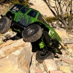 <strong class='magnific-title'>Green Jeep</strong> Wrangler Unlimited body painted green and grey on a TRX4 chassis kit. Green detailing for links and diff covers.