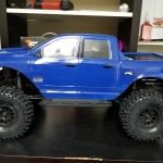 <strong class='magnific-title'>Blue</strong> Traxxas TRX4 tactical that&#039;s been de-tacticaled and added the Pro-Line Dodge Ram body 3427 for the Revo/Summit, MIP Widetrack kit, Pro-Line Hyraxes on Axial Method wheels and the Hobbywing 1080 crawler esc. Favorite upgrade is the magnet body mounts which allowed me to save from drilling the holes in the body!  Thanks again Pro-Line!