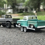 <strong class='magnific-title'>Pair of 66 Chevys</strong> Grey truck is a Vaterra Ascender with custom interior. 