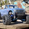 <strong class='magnific-title'>Slash 4x4</strong> this is my slash 4x4 1/10 scale converted over to a monster truck. It has a mamba max pro 2400kv motor and speed control Pro-Line power stroke shocks rear shock conversion on the front Pro-Line universal shock mount kit Pro-Line secure body mount kit with a Pro-Line 72 Chevy longbed