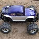 <strong class='magnific-title'>Flux Baja Bug!</strong> Pro-Line Baja Bug body on top of a Savage flux with Rpm Revolver wheels and Pro-Line Masher 2000 tires.