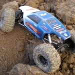 """<strong class='magnific-title'>Axial AX-10</strong> Pro-line's Crowd Pleazer Body with custom painted Hot Wheels Design (nope, not decals).  Pro-line 2.2"""" Titus Beadlocks. Ryan Schellerup"""