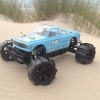 """<strong class='magnific-title'>Gulf Sand monster</strong> Here is my savage flux XL """"Sand monster"""". - Pro-Line Chevy C10 longbed Body with Gulf paint - Pro-Line slingshot on desperado 3.8 - FLM xl frame - Motor hobbywing leopard 1450kv - ESC Xerun 150A And more ..."""